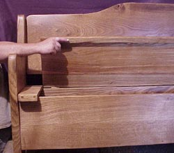 Pew bench with storage