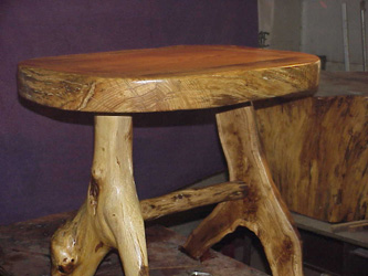 Side view of 3 inch+ Oak top for this end table. -
