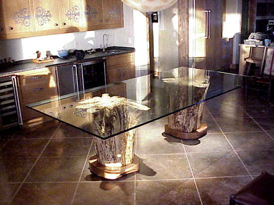 Twin stump glass top tables for Tree root dining table
