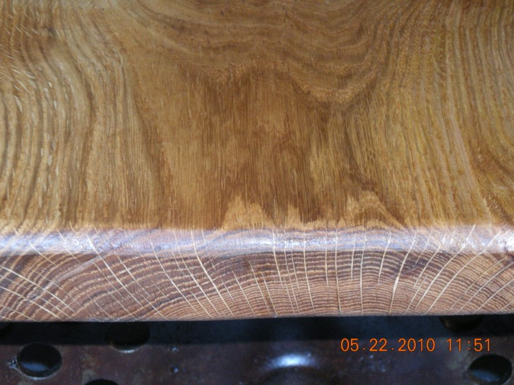 Close up of end graining of White Oak seat.
