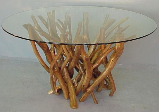 Dining tangle with a 6 foot round glass top..